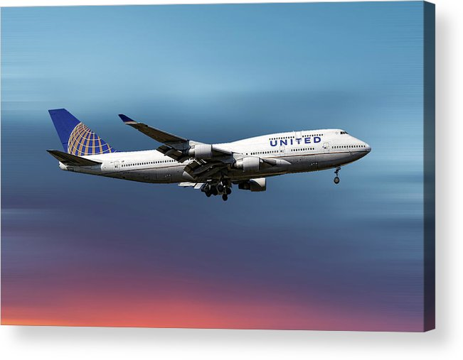 United Airlines Acrylic Print featuring the mixed media United Airlines Boeing 747-422 by Smart Aviation