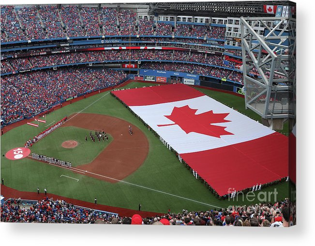 American League Baseball Acrylic Print featuring the photograph Boston Red Sox V Toronto Blue Jays by Tom Szczerbowski