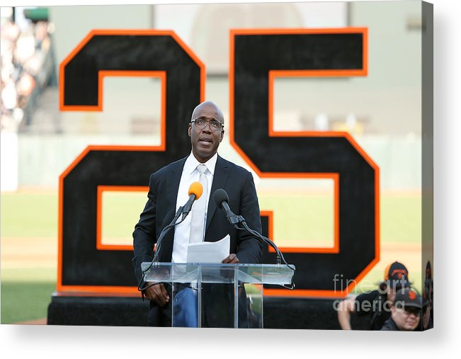 San Francisco Acrylic Print featuring the photograph Barry Bonds San Francisco Giants Number by Lachlan Cunningham