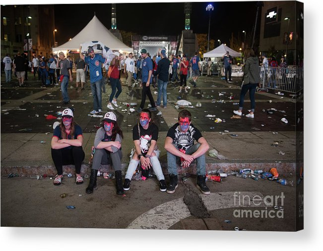 Sport Acrylic Print featuring the photograph Cleveland Indians Fans Gather To The by Justin Merriman