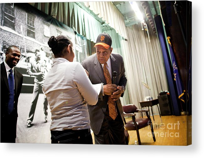 San Francisco Acrylic Print featuring the photograph Willie Mays And The World Series Trophy by Michael Nagle