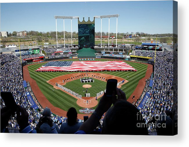 American League Baseball Acrylic Print featuring the photograph Oakland Athletics V Kansas City Royals by Jamie Squire