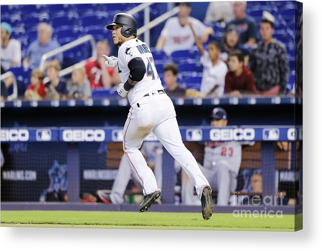 American League Baseball Acrylic Print featuring the photograph Minnesota Twins V Miami Marlins 4 by Michael Reaves