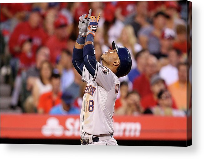 People Acrylic Print featuring the photograph Houston Astros V Los Angeles Angels Of 7 by Stephen Dunn
