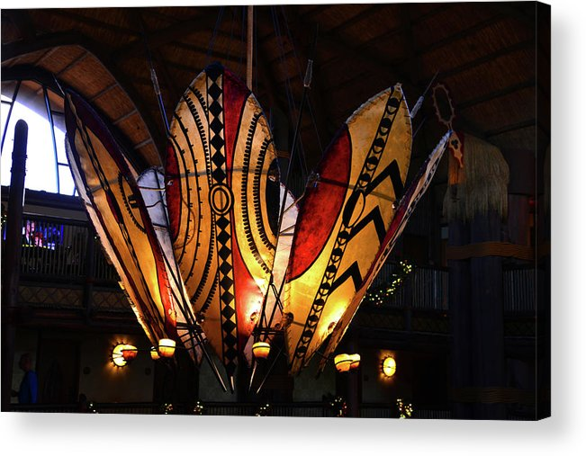 African Battle Shields Acrylic Print featuring the photograph African Shields At Ak Lodge by David Lee Thompson