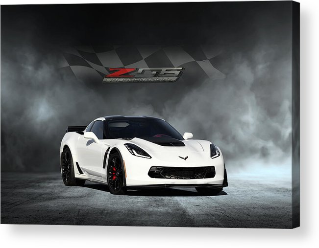 Chevrolet Acrylic Print featuring the digital art Arctic White Z06 by Peter Chilelli