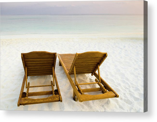 Outdoors Acrylic Print featuring the photograph Beach Chairs, Maldives by Ulana Switucha