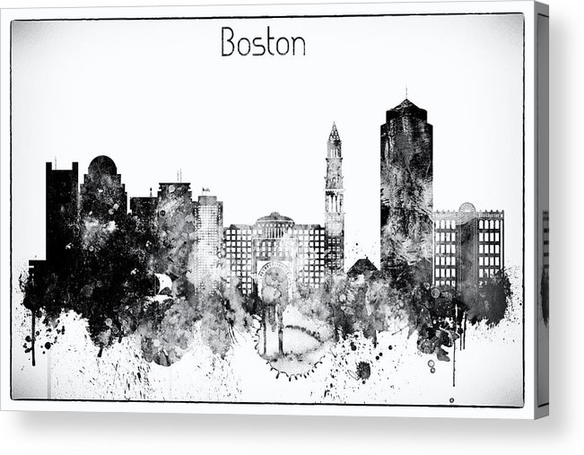 Boston Acrylic Print featuring the digital art Black And White Boston City Skyline by Dim Dom