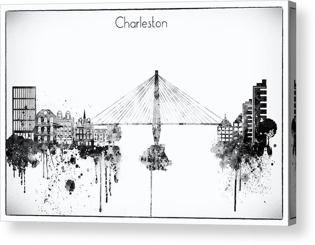 Charleston Acrylic Print featuring the digital art Black And White Charleston City Skyline by Dim Dom