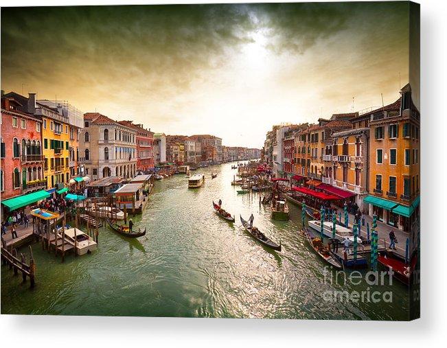 Venice Island Acrylic Print featuring the photograph Boats And Gondolas On The Grand Canal by Photoff