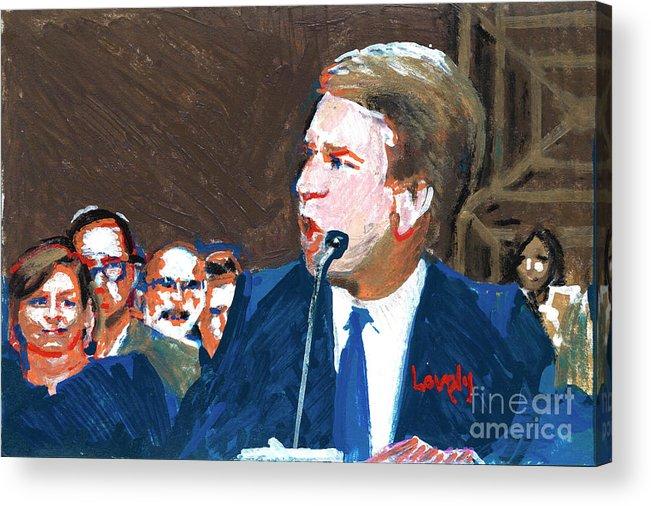 Christine Blasey Ford Testifies Before Senate Acrylic Print featuring the painting Brett Kavanaugh Testifies Before Senate by Candace Lovely