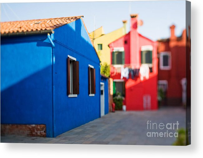 Color Acrylic Print featuring the photograph Burano Island In Tilt-shift by Zinaida Zakharova
