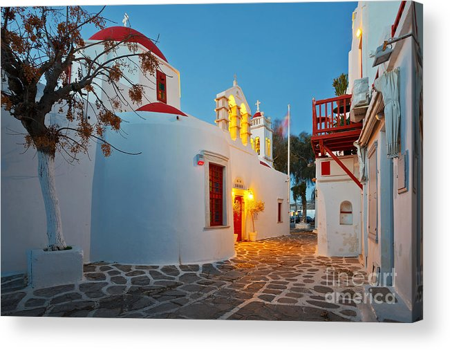 Cyclades Acrylic Print featuring the photograph Byzantine Church In A Street Of Mykonos by Milan Gonda