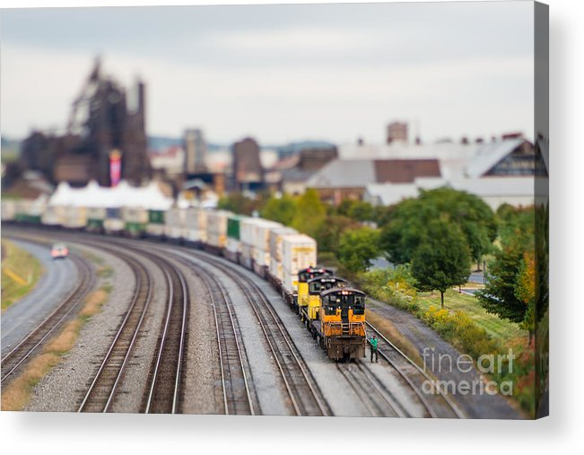 Small Acrylic Print featuring the photograph Cargo Train Photographed Using A by Jkom
