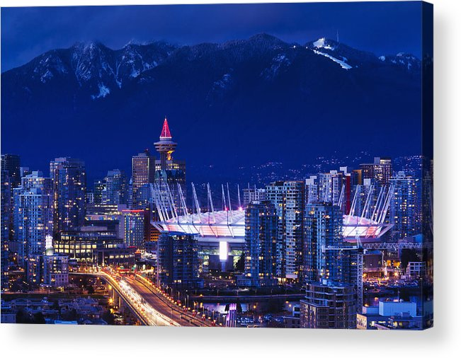 Outdoors Acrylic Print featuring the photograph City View With Bc Place Stadium by Walter Bibikow