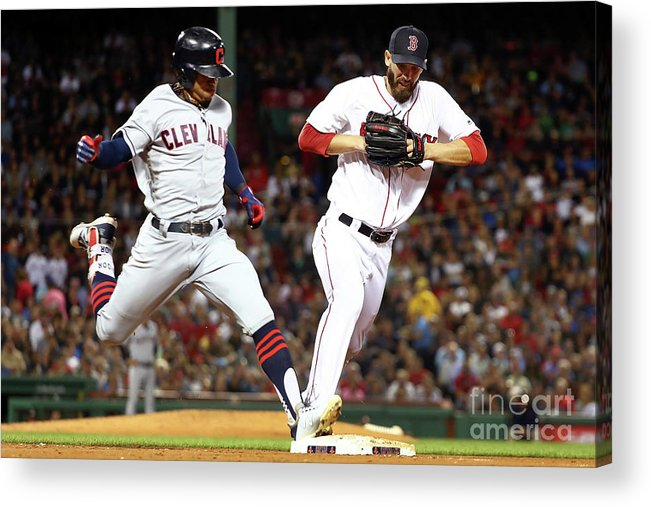 People Acrylic Print featuring the photograph Cleveland Indians V Boston Red Sox by Adam Glanzman