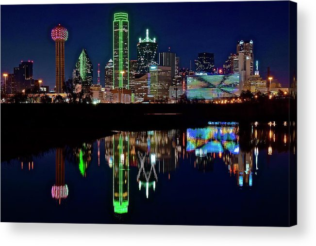 Dallas Acrylic Print featuring the photograph Dallas Reflecting At Night by Frozen in Time Fine Art Photography
