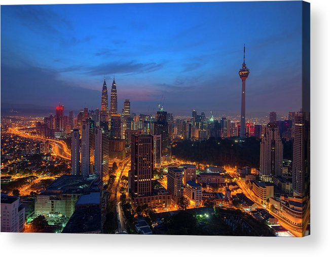Dawn Acrylic Print featuring the photograph Dawn Of A New Day In Kuala Lumpur by Copyright © 2013 Nur Ismail Photography.all Rights Reserved