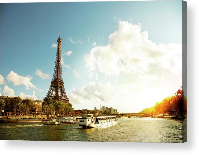 Arch Acrylic Print featuring the photograph Eiffel Tower And The River Seine by Vintagerobot
