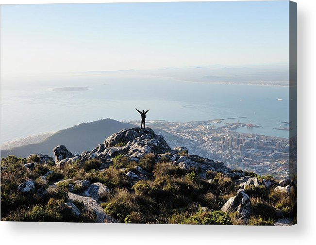 Scenics Acrylic Print featuring the photograph Exuberant Man On Top Of Table Mountain by David Malan