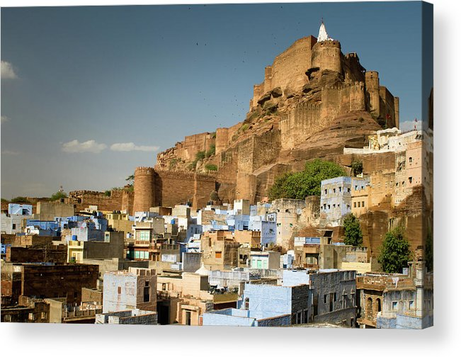 Built Structure Acrylic Print featuring the photograph Fort Mehrangarh And Old Town In Jodhpur by Ania Blazejewska