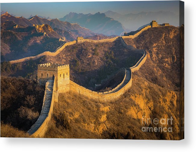 Asia Acrylic Print featuring the photograph Great Wall Last Light by Inge Johnsson