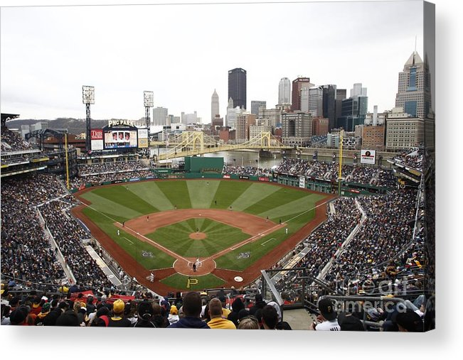 Crowd Acrylic Print featuring the photograph Houston Astros V Pittsburgh Pirates by John Grieshop