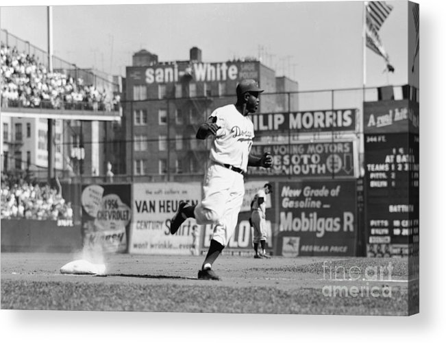 1950-1959 Acrylic Print featuring the photograph Jackie Robinson Rounds The Bases by Robert Riger