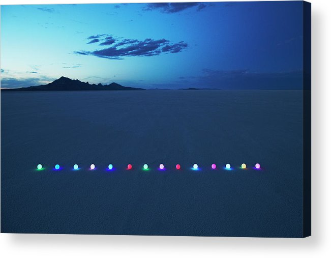 Scenics Acrylic Print featuring the photograph Line Of Glowing Orbs In Desert At Dusk by Andy Ryan
