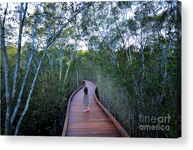 Forest Acrylic Print featuring the photograph Little Girl Age 04 Visit In Coombabah by Chameleonseye