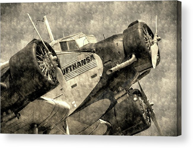 Ww2 Vintage Photo Acrylic Print featuring the photograph Lufthansa Junkers Ju 52 Vintage by David Pyatt