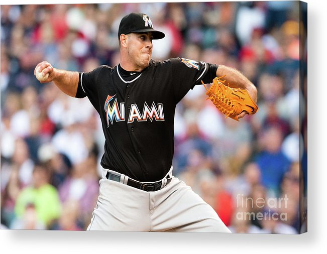Three Quarter Length Acrylic Print featuring the photograph Miami Marlins V Cleveland Indians by Jason Miller