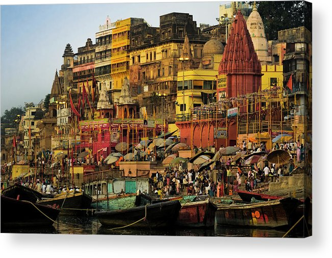 Crowd Acrylic Print featuring the photograph Moored Boats At The Sacred Prayag by Glen Allison