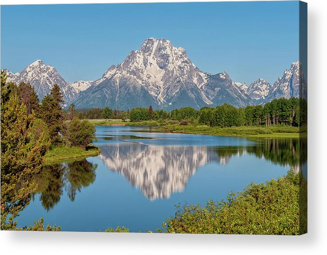 Mount Moran Acrylic Print featuring the photograph Mount Moran On Snake River Landscape by Brian Harig