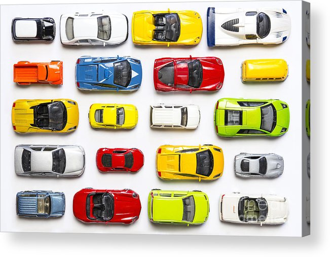 Racing Acrylic Print featuring the photograph Overhead View On Colorful Car Toys by Pirke