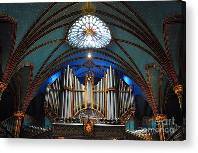 Notre Acrylic Print featuring the photograph Pipe Organ Of Montreal Notre-dame by Wangkun Jia