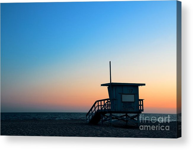Sunrise Acrylic Print featuring the photograph Santa Monica Beach Safeguard Tower At by Songquan Deng