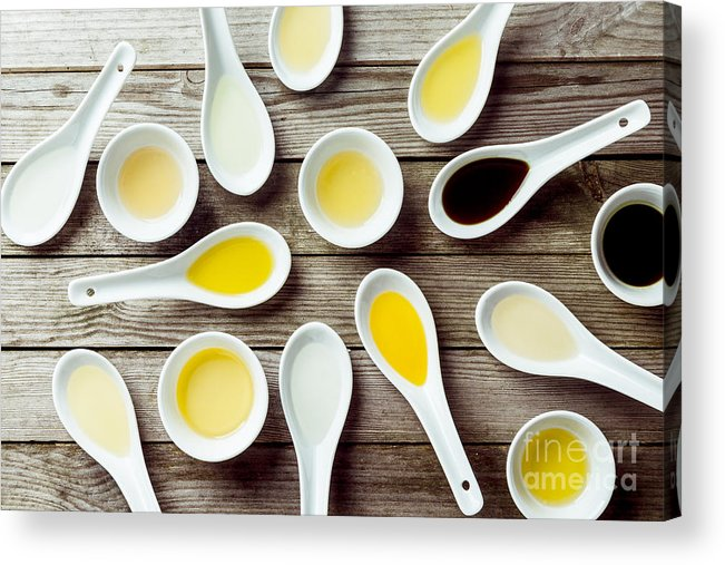 Ceramic Acrylic Print featuring the photograph Several Soup Spoons And Sauce Dishes by Stockcreations