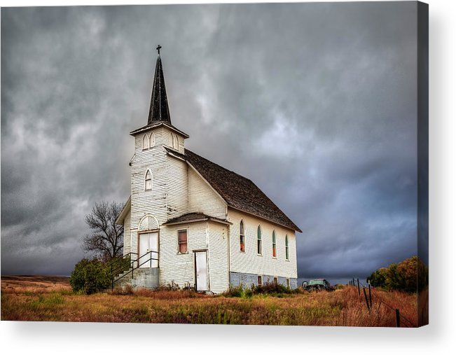 Abandoned Acrylic Print featuring the photograph Shuttered Church In Cartwright North Dakota by Harriet Feagin