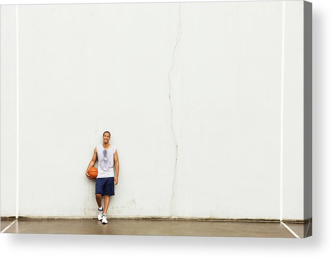 People Acrylic Print featuring the photograph Smiling Man Leaning Against Wall by Compassionate Eye Foundation/justin Pumfrey