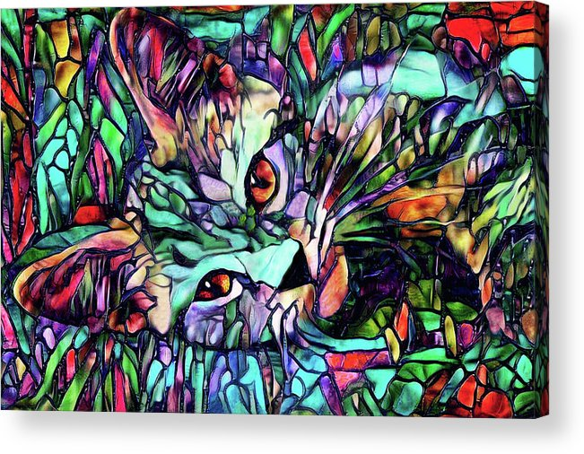 Cat Acrylic Print featuring the digital art Sparky The Stained Glass Kitten by Peggy Collins