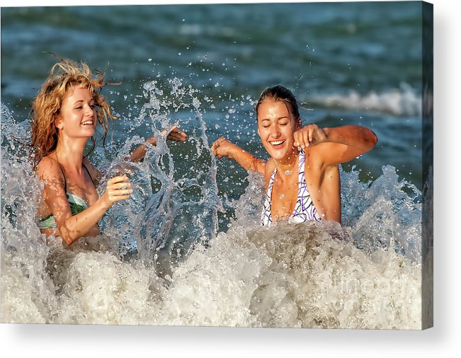 Horizontal Acrylic Print featuring the photograph Splashing by Christopher Purcell