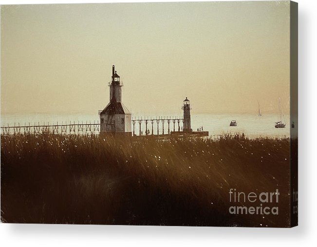 Michigan Acrylic Print featuring the photograph St. Joseph Lighthouse - Digital Pencil by Scott Pellegrin