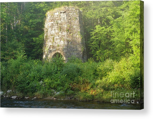 1800s Acrylic Print featuring the photograph Stone Iron Furnace - Franconia New Hampshire by Erin Paul Donovan