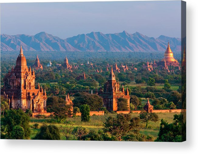 Southeast Asia Acrylic Print featuring the photograph Stupas On The Plains Of Bagan, Myanmar by Mint Images/ Art Wolfe