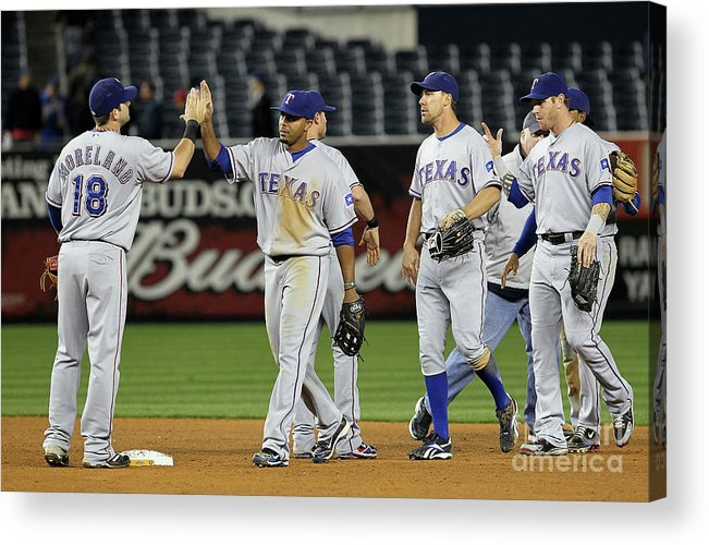 Playoffs Acrylic Print featuring the photograph Texas Rangers V New York Yankees, Game 4 by Jim Mcisaac