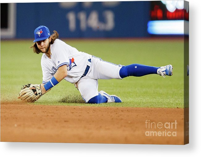 People Acrylic Print featuring the photograph Texas Rangers V Toronto Blue Jays by Mark Blinch