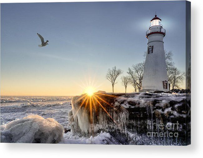 Sunrise Acrylic Print featuring the photograph The Historic Marblehead Lighthouse In by Michael Shake