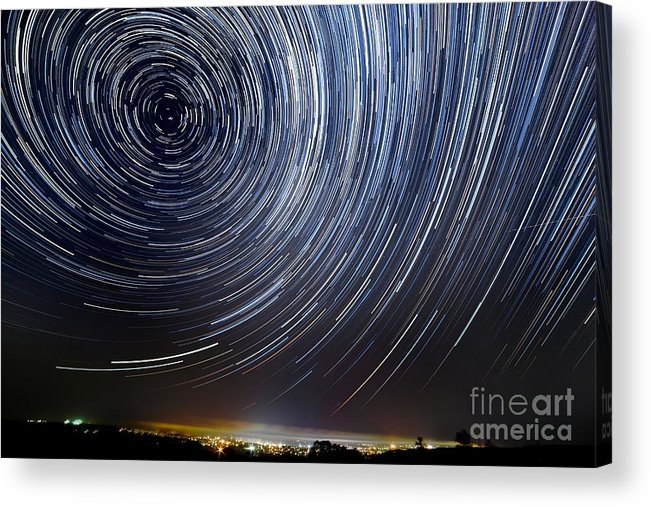 Sky Acrylic Print featuring the photograph The Motion Of Stars Around Pole Star In by Alexussk