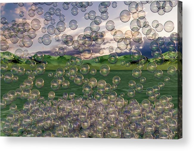 Bubble Acrylic Print featuring the digital art The Simplicity Of Bubbles by Betsy Knapp